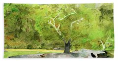 Bath Towel featuring the painting Tracy's Rock by Sandy McIntire