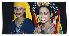 Bath Towel featuring the photograph Traditional Dressed Thai Ladies by Heiko Koehrer-Wagner