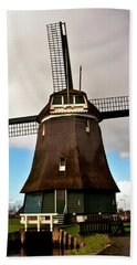 Traditional Dutch Windmill Near Volendam  Hand Towel