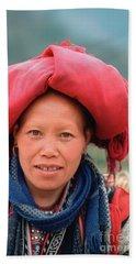 Traditional Fashion Of A Red Dzao Woman Bath Towel