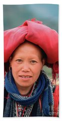 Traditional Fashion Of A Red Dzao Woman Bath Towel