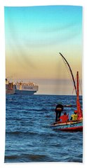 Traditional Fishing And The Container Ship Hand Towel