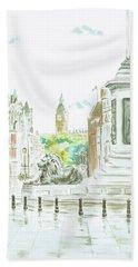 Hand Towel featuring the painting Trafalgar Square by Elizabeth Lock