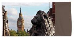 Trafalgar Square Lion With Big Ben Bath Towel by Gill Billington