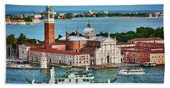 Traffic Around The Venetian Church Hand Towel