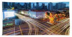 Traffic Light Trails In Singapore Chinatown Bath Towel