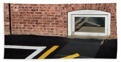 Bath Towel featuring the photograph Traffic Line Conversion In Window by Gary Slawsky