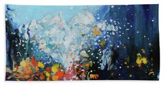 Bath Towel featuring the painting Traffic Seen Through A Rainy Windshield by Dan Haraga