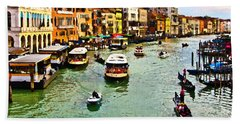 Bath Towel featuring the photograph Traghetto, Vaporetto, Gondola  by Tom Cameron
