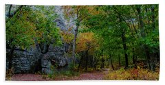 Trail Past Indian Face Rock Bath Towel by Barbara Bowen