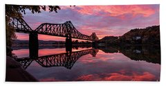 Train Bridge At Sunrise  Hand Towel