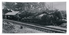 Bath Towel featuring the photograph Train Derailment by Jeanne May