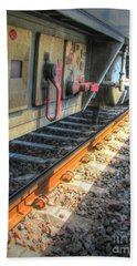 Hand Towel featuring the pyrography Train Road by Yury Bashkin