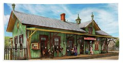 Bath Towel featuring the photograph Train Station - Garrison Train Station 1880 by Mike Savad