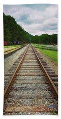 Bath Towel featuring the photograph Train Tracks by Linda Sannuti