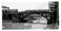 Bath Towel featuring the photograph Trains Cross Jack Knife Bridge - Chicago C. 1907 by Daniel Hagerman