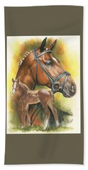 Bath Towel featuring the mixed media Trakehner by Barbara Keith