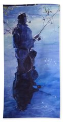 Watercolor Tranquil Fishing Bath Towel