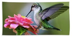 Tranquil Joy Hummingbird Square Bath Towel