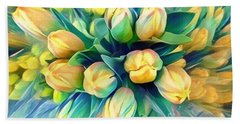 Tranquility Of Spring - Yellow Tulips Bath Towel by Miriam Danar