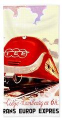 Trans Europ Express Railway,train,vintage Poster Bath Towel