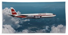Commercial Airplane Mixed Media Bath Towels