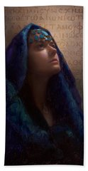 Transformation - Woman With Romans 12 2 Written In Original Greek  Bath Towel by Karen Whitworth