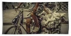 Bath Towel featuring the photograph Transport By Bicycle In China by Heiko Koehrer-Wagner
