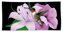 Hand Towel featuring the mixed media Transport Hummingbird by Marvin Blaine