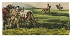 Trappers On The Prairie  Peace Or War Hand Towel