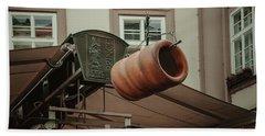 Bath Towel featuring the photograph Trdelnik. Prague Architecture by Jenny Rainbow