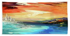 Hand Towel featuring the painting Treasure Island by Tatiana Iliina