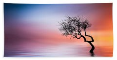 Tree At Lake Hand Towel by Bess Hamiti