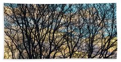 Bath Towel featuring the photograph Tree Branches And Colorful Clouds by James BO Insogna