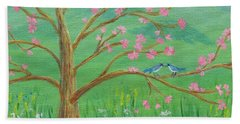 Bath Towel featuring the painting Tree For Two by Nancy Nale