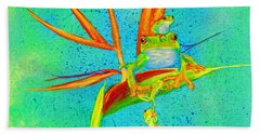 Tree Frog On Birds Of Paradise Square Bath Towel