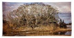 Tree In Marsh Bath Towel