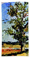 Tree In Summer Sun Mixed Media Bath Towel