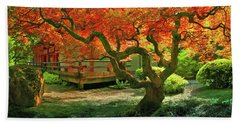 Tree, Japanese Garden Bath Towel