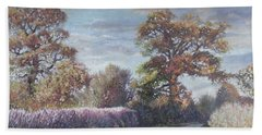 Bath Towel featuring the painting Tree Lined Countryside Road by Martin Davey