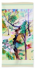 Hand Towel featuring the painting Tree Lovers by Mindy Newman