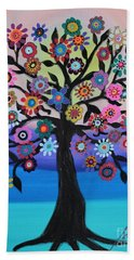 Blooming Tree Of Life Bath Towel by Pristine Cartera Turkus