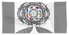 Tree Of Life - Ink Drawing Bath Towel