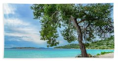 Tree On Northern Dalmatian Coast Beach, Croatia Bath Towel