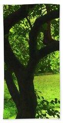 Tree Trunk Green Hand Towel