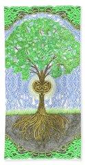 Tree With Heart And Sun Hand Towel