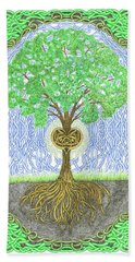 Hand Towel featuring the digital art Tree With Heart And Sun by Lise Winne