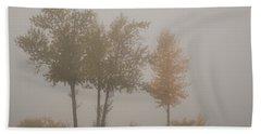 Trees In Fog Bath Towel