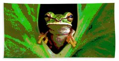 Bath Towel featuring the mixed media Treefrog by Charles Shoup