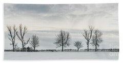 Treeline In Snow, England Hand Towel